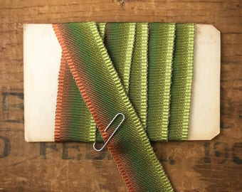 7/8 Inch Green and Burnt Orange Copper Ombre Grosgrain Ribbon Trim(1yd)T07