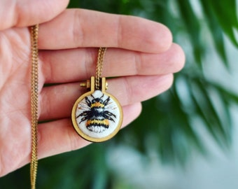 Hand Embroidered Bumble Bee Pendand