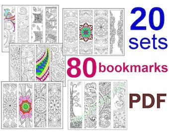 20 sets Bookmarks Coloring, Total 80 Bookmarks, Printable PDF size 8.5 x 11 inches (Letter), Vector Graphics, Instant Download. For Coloring