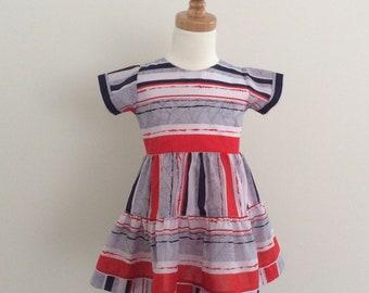 Girls 4th of July Dress - Size 2,  READY TO SHIP,  Girls Red White and Blue Dress, Ruffle Dress, Summer Dress, Cotton Dress, Holiday Dress