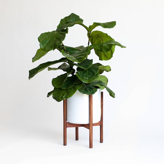 large mid century modern planter plant stand with 10 in. Black Bedroom Furniture Sets. Home Design Ideas