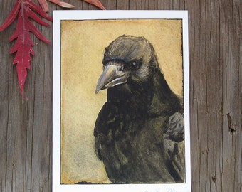 The Crow Fine Art Print 5x7 from Watercolor Painting, Bird Artwork, Crow Print