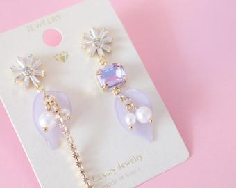 Violet earrings, harajuku fashion, flower earrings