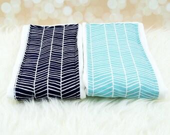 2 Baby Burp Cloths (Navy Herringbone & Aqua Herringbone) ||| burp rag, baby burp cloths, baby shower gift, baby gift, new baby gift