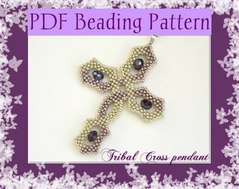 DIY Beading pattern Tribal Cross pendant / PDF tutorial with detailed instructions, images and diagrams / Cubic Right Angle Weave / RAW 3D