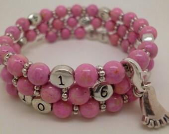 Pink nursing treasure riverstone bracelet