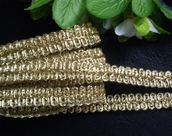 Metallic Chinese Braid, 7/16 inch wide gold color selling by the yard
