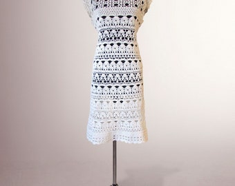 Crochet dress Catherine. White women handmade summer day or special occasion organic cotton crochet dress. Free shipping. Ready to ship.