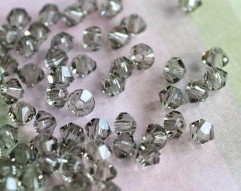 144pcs Swarovski Bicone Crystal Beads, Black Diamond, Faceted Austrian Crystal 4mm Xilion Model 5328