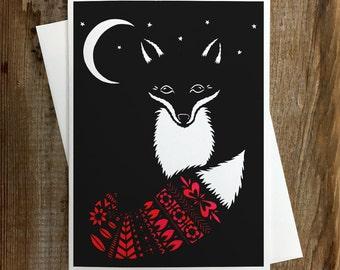 Fox In Moonlight - Greeting Card