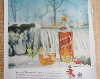 1960s JOHNNIE WALKER Red Label Scotch WHISKY magazine ad with Christian Brothers on back