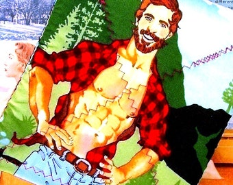Pot holder Lumberjack Bearded Hunk - as seen in BUST Magazine - Made To Order