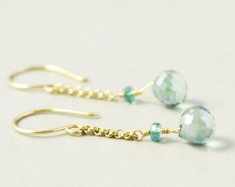 Green Quartz Dangle Earrings, Gold Chain Earrings, Mint Green Earrings