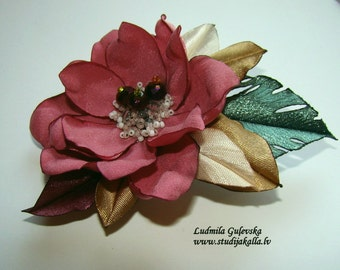 Wedding hair/dress accessories, flower clip and pin, floral hairpiece, bridal hair accessory, pink -lightcoral color flower .