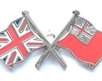 Union Jack and Naval Red Ensign Crest Military Enamel Lapel Pin Badge