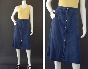 Vintage 70s Denim Jean Skirt, High Waisted Knee Length Skirt, 70s Liz Claiborne Skirt, Button Front Midi, Long Jean Skirt,  Women's Size 12