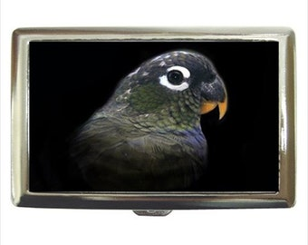 Maximillian Pionus Parrot Bird Money Cigarette Case Chrome Holder Wallet