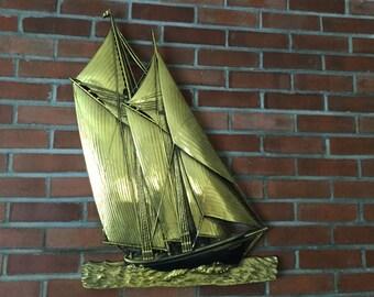Large Dart Sailboat, Gold 1972 Retro Nautical Wall Decor, Extra Large Vintage Sailboat