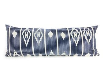 36 x 14  Indigo & Ivory Baule Ikat Long Lumbar Pillow Cover - Vintage African Mudcloth