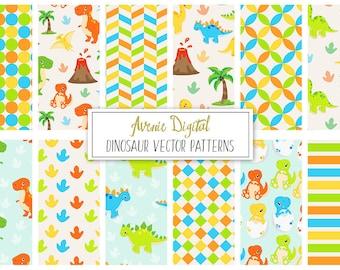 Cute Dinosaur Digital Paper. Scrapbook Backgrounds, Cute animals vector patterns, Trex, Triceratops, brontosaurus, stegosaurus,