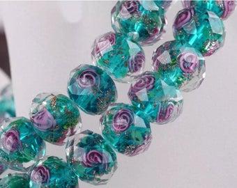 12 mm lampwork Glass Rondelle bead 10 pcs