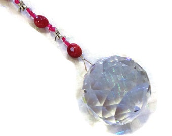Feng Shui Crystal 40mm Sun Catcher Glass Beads Rainbow Ornament Hot Pink Beads and Dragonflies