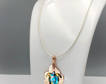 Turtle pendant - copper pendant - leather pendant - magnetic necklace- textured copper - copper jewelry