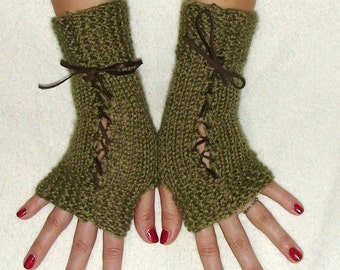 Fingerless Gloves in Khaki/ Olive Green Texting gloves Victorian Style