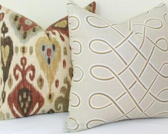 Beige loop throw pillow cover 18x18 20x20 Neutral pillow cover Tan pillow cover Taupe pillow cover Robert Allen pillow