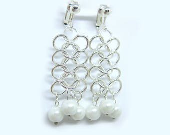 Silver Chainmaille Clip-On Earrings