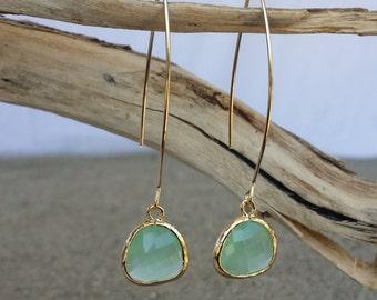 Bezel Set, Drop Earring, Faceted Glass, Gold Filled Ear Wire, Mint Green