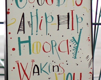 Gender Neutral Nursery, Hip Hip Hooray Print, Good Day Print, Sun Print, Lettering 5x7in Nursery