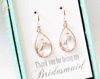 Rose gold clear earrings, Rose gold earrings, Maid of honor gift, Rose gold bridal earrings, Wedding rose gold earrings, Rose gold jewelry