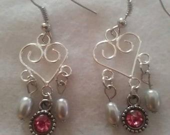 Silver heart dangle earrings
