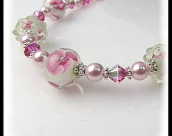 Pink floral necklace, pink flowers jewelry, pink crystals necklace, pink pearls jewelry, pink and white necklace, summer jewelry, handmade