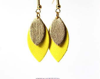 Celia petals leather yellow gold earring