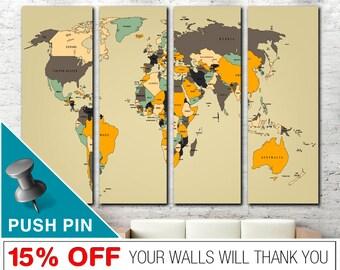 Beige Weltkarte, Push Pin Weltkarte, Wort Weltkarte Leinwand, Weltkarte  Wandkunst, Welt Karte Push Pin, Weltkarte Drucken, Weltkarte, Karte Leinwand