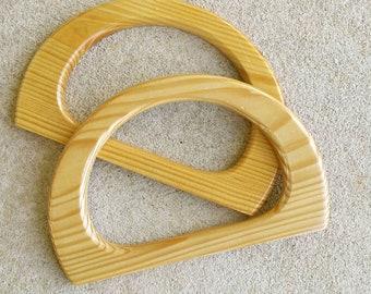 Natural wood bag handles. 17cm x 11 cm handbag handles - Australia
