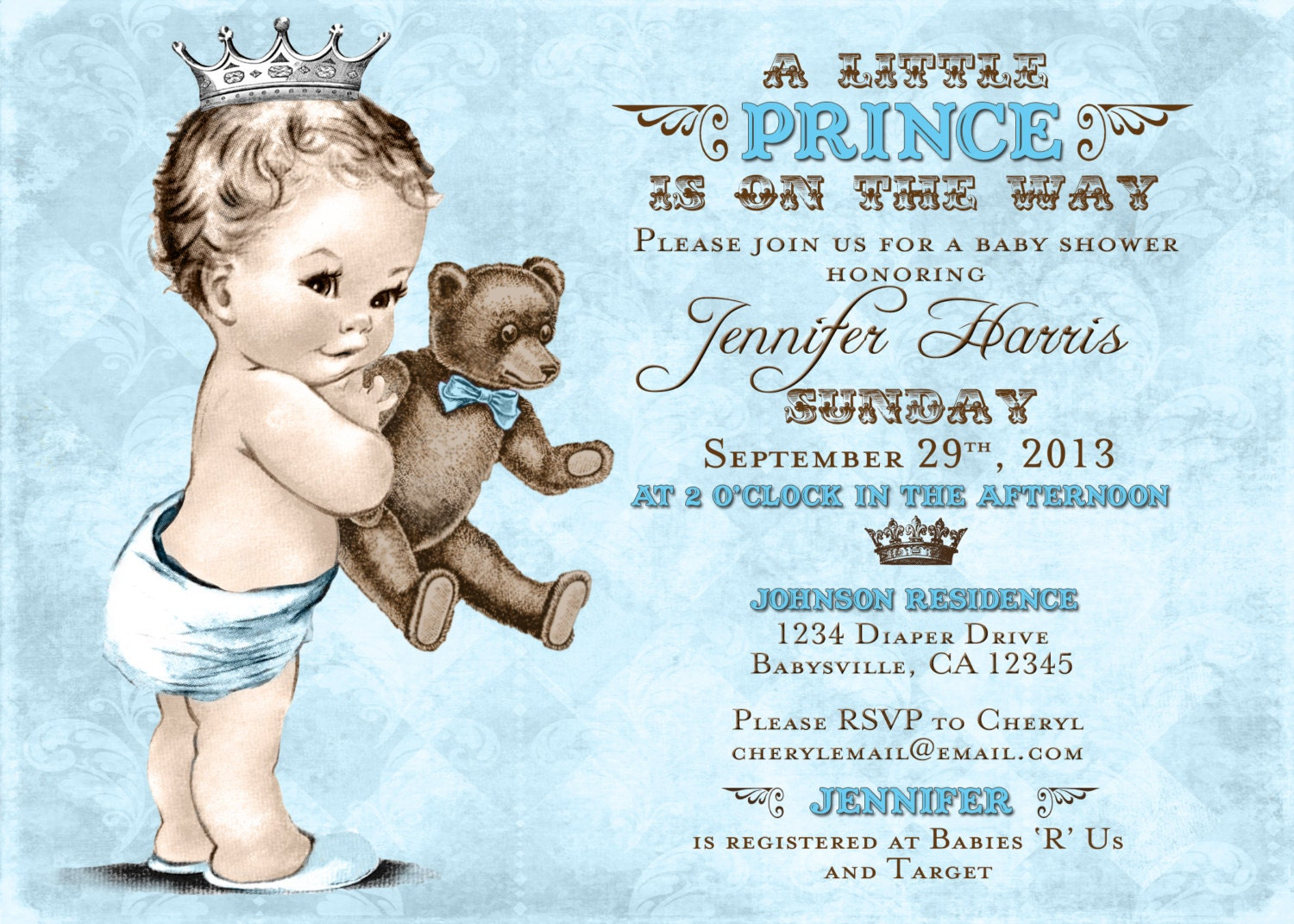 Teddy bear baby shower invitation for boy prince crown zoom filmwisefo Choice Image