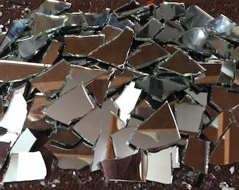 "200 Shattered Mosaic Mirror Art Tiles - Glass Tile - mirror 1/4-1"" random cut pieces"