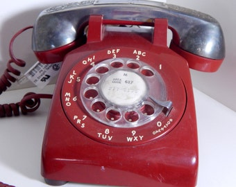 Vintage Red Bell Rotary Telephone with Silverplate Raimond Receiver Cover Scrolled Design Mid Century Phone Blood Red & Silver Gothic Home