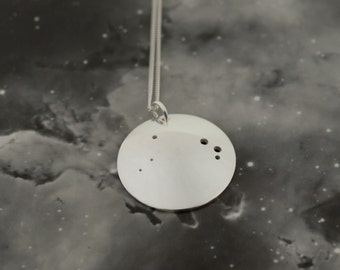 Silver Aries pendant: The constellation of Aries on a sterling silver pendant