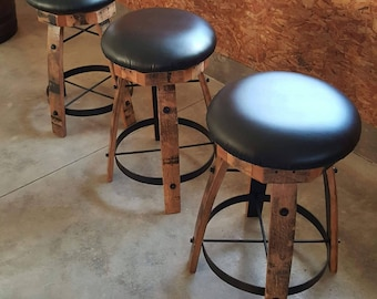 Whiskey Barrel Stave Bar Stools with Swivel Seats