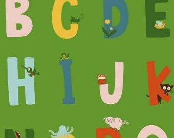 Heather Ross Kinder Fabric, alphabet letters on orange, Windham Fabrics SKU 43481-6, half yard quilting cotton, letter fabric