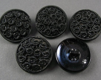 Vintage Czech Glass Buttons - 5  Black Glass