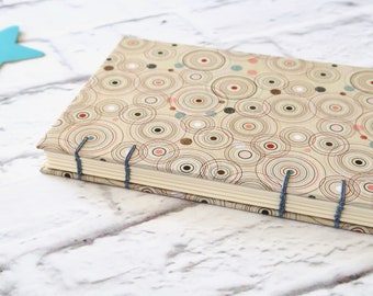Circles Coptic Notebook Coptic Journal Blank Book Writing Journal Travel Journal Hardcover Hand Bound 160 Lined Cream Pages