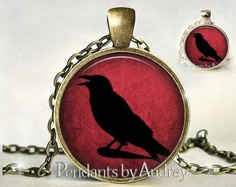 Crow Necklace,Crow Jewelry,Crow Pendant,Raven Pendant,Raven Necklace,Black Bird, Blackbird,Bird Jewelry, Gift, Picture,Print, Art Pendant