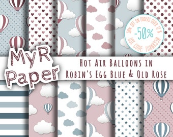 """Hot Air Balloons Digital Paper: """"Robin's Egg Blue & Old Rose"""" for scrapbooking, invite, card – perfect for vintage project and baby shower"""