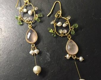 Lady Pink>> Pink gemstone dangle earrings, freshwater pearl, peridot, quartz, gold vermeil wrapped earrings