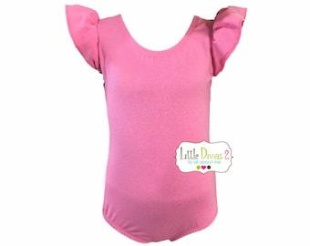 PRINCESS PINK LEOTARD (Child) Flutter/Ruffle Sleeve Leotard